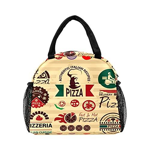Bolsa de almuerzo para pizza de comida rápida retro para mujer, con aislamiento personalizado, reutilizable, bolsa térmica para el trabajo, picnic