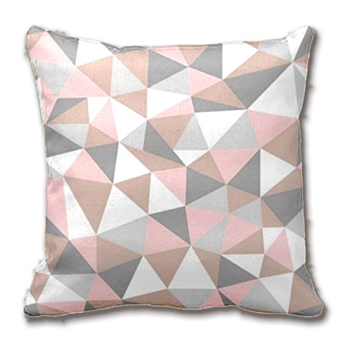 Blush And Gray Geometric Pattern Throw Pillow Case Home Decor Cushion Cover Cotton Ployster Fabric 18'x18'Inch