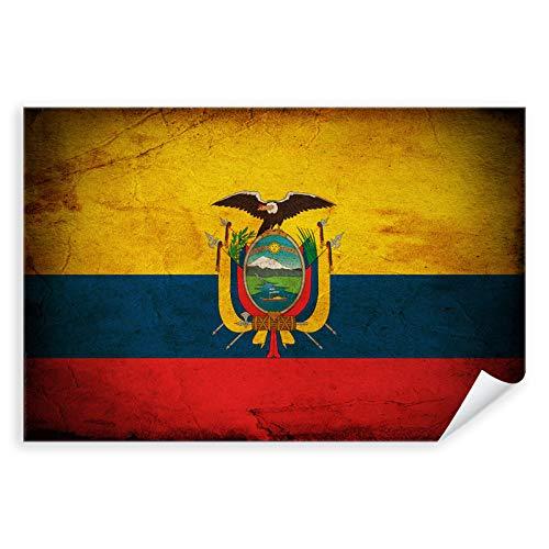 Postereck - 0361 - Vintage Flagge, Fahne Ecuador Quito - Unterricht Klassenzimmer Schule Wandposter Fotoposter Bilder Wandbild Wandbilder - Leinwand - 100,0 cm x 75,0 cm