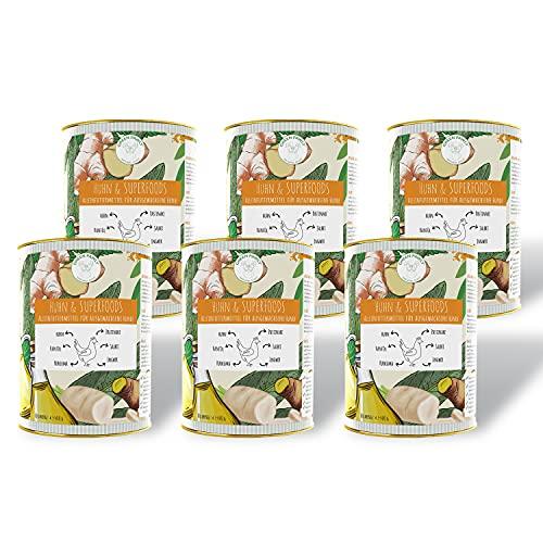 Green PAWLY 6x400g Nassfutter für Hunde mit Huhn und SUPERFOODS, Alleinfuttermittel, vitaminreich, hoher Anteil an Muskelfleisch, ausgewähltes Frischfleisch, naturnah, ohne Zusätze, voller Nährstoffe