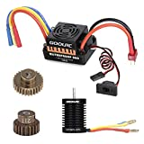 GoolRC brushless Motor and esc 9T Motor 3650 4370KV Brushless Motor 60A ESC Electronic Speed Controller 5.8V/3A BEC 21T Gear 28 Gear for 1/10 RC Car Crawler Truck Boat