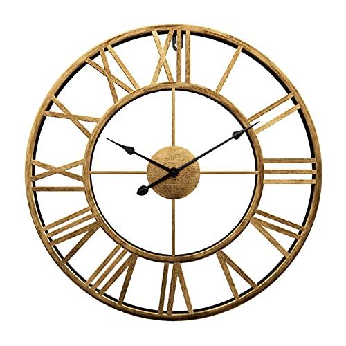 LH-Wall Rack Reloj de Pared Redondo Metal Dorado Silencioso Sin tictac Funciona con Pilas Números Romanos Antiguos Relojes de Arte de Pared para Sala de Estar, Dormitorio, Cocina