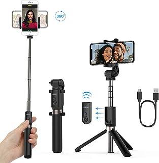 Yoozon Palo Selfie Trípode BluetoothMini Selfie Stick Bolsillo para Autofoto.Extensible de Control Remoto Monopié inalámbrico 3 en 1.Rotación 360 Grados para teléfonos Inteligentes iPhone y Andriod