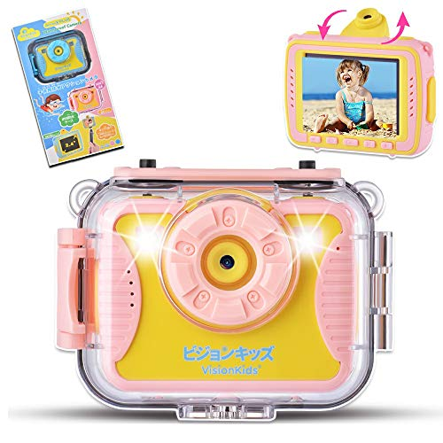 VisionKids 子供用デジタルカメラ トイカメラ 写真 動画 連写 タイマー撮影 ゲーム 2.4インチ 防水カメラ 1080P録画 1600万画素 補助ライト 日本語説明書 プレゼント 知育 教育 男女兼用 ピンク JP060 ActionX Plus