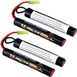 melasta 2 Pack 2/3A 9.6v 1600mAh Butterfly Nunchuck NIMH Battery Pack with Mini Tamiya Connector for Airsoft Guns M4, G36, M110, SR25, M249, M240B, M14, RPK, PKM, L85, AUG, G3