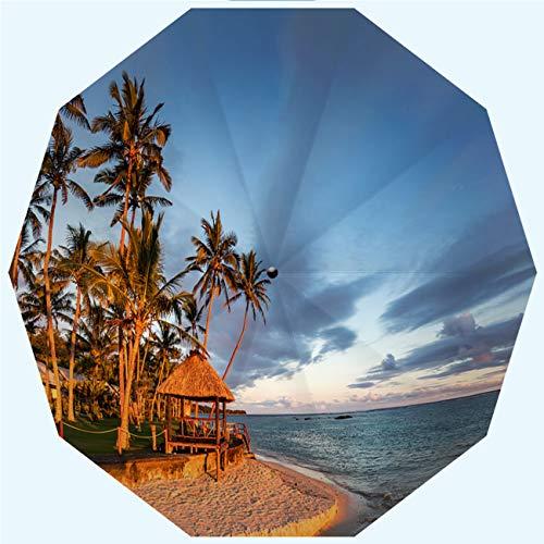 RLDSESS Island Compact Patio Umbrella, Automatic Opening and Closing,Fiji Island Beach Hut Sunset Coral Coast Viti Levu,Windproof, Rainproof, Men, Ladies, 10 Ribs, 42 Inches