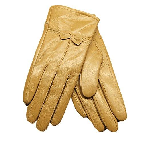 Butterme Luxury Ladies weichen Schaffell Lederhandschuhe mit Bowknot-Stich-Entwurf Fleece Futter PU Leder Fäustlinge Gelb