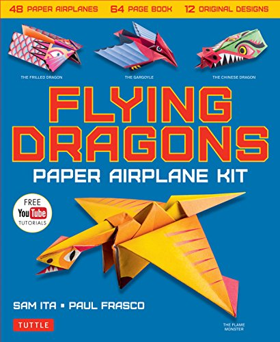 Flying Dragons Paper Airplane Kit: 48 Paper Airplanes, 64 Page Instruction Book, 12 Original Designs, YouTube Video Tutorials