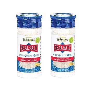 Redmond Real Sea Salt - Natural Unrefined Gluten Free Fine 10 Ounce Shaker  2 Pack