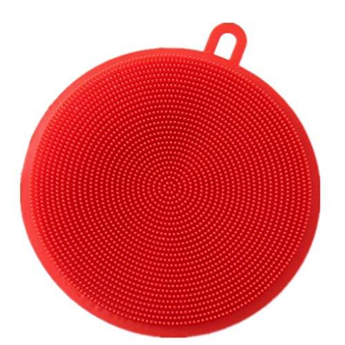 Plato Esponja de Silicona, Silicona Scrubber Hogares de Propósitos Múltiples de Limpieza de Silicona esponjas for Olla de Frutas y Verduras sartén Antiadherente (Color : Rojo)