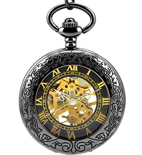 Stayoung Steampunk Antiguo Negro Números Romanos Cuerda Manual Reloj de Bolsillo Mecánico Colgante Cadena Lupa Caballero Negro