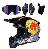 Conjunto de Casco de Motocross para Niños con Gafas Guantes Máscara, Casco de Moto MX Adultos Casco de MTB de Integrale Casco de Moto Todoterreno para Hombre Red Bull