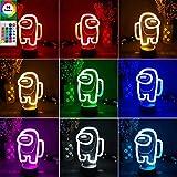 Among us lámpara de ilusión óptica 3d, luz de noche LED luces de escultura táctil de 16 colores con control remoto, regalo para entusiastas del juego (A)