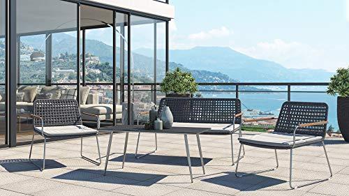 ARTELIA Lissy Rope Collection Gartenmöbel Lounge Edelstahl für 4 Personen Loungemöbel Set für Garten, Terrasse Gartenmöbelset Rope