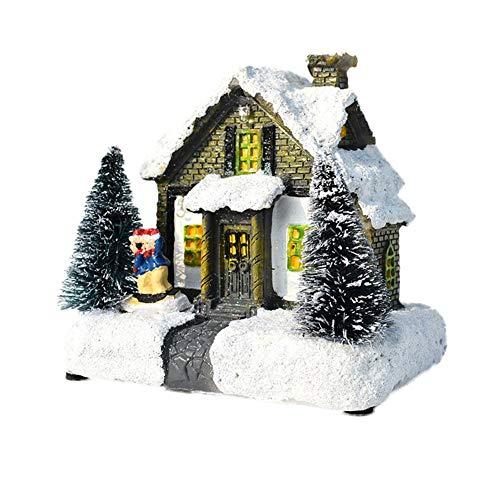 Navidad en Miniatura Casas de Pueblo Navidad Casa de Nieve Figurilla LED Novedad Adorno de luz Regalo de...