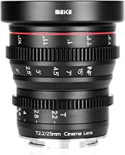 Meike 25mm T2.2 Large Aperture Wide Angle Manual Focus Prime Mini Cinema Lens for Micro Four Thirds M43 MFT Cameras and BMPCC