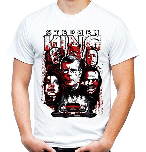 Stephen King Männer und Herren T-Shirt | Horror Grusel Roman ||| (M, Weiß)
