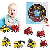 deAO Vehículos de Ciudad a Fricción Conjunto de 8 Camiones de Construcción y Servicio de Emergencias Surtido de Juguete Infantil para Niños y Niñas