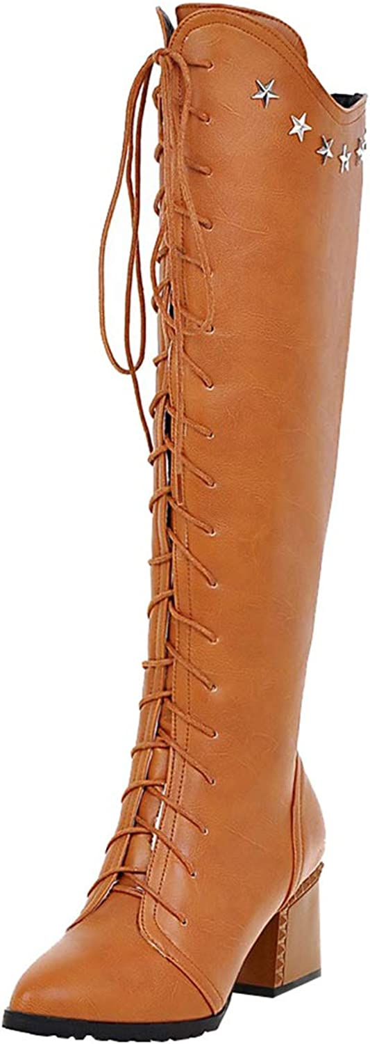 Artfaerie Womens Mid Block Heel Lace Up Knee High Boots Pointed Toe Boots Fashion British Style Retro shoes
