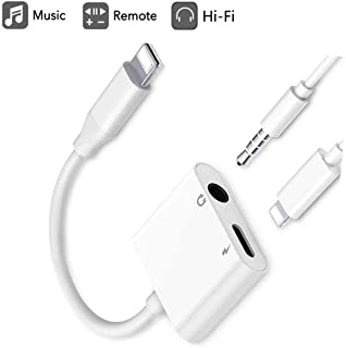 JINGDAN Headphone 3.5mm Jack Adaptor Charger Cable Splitter for iPhone,2 in 1 Earbuds AUX Audio Dongle Music Splitter Cable Accessories Compatible with iPhone Xs/XR/X/8Plus/7Plus/iPad/iPod/iOS12