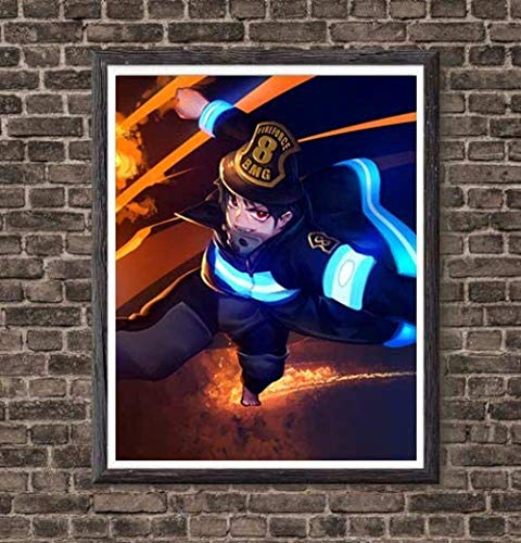YEAHTOPE Fire Evil Slayer Shinra Fire Force Manga Anime Wall Póster decorativo para decoración del hogar, 20,3 x 25,3 cm, sin marco