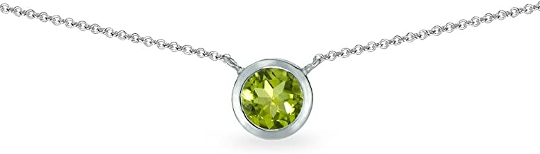 Sterling Silver Genuine, Created or Simulated Gemstone 6mm Round Solitaire Bezel-Set Dainty Choker Necklace