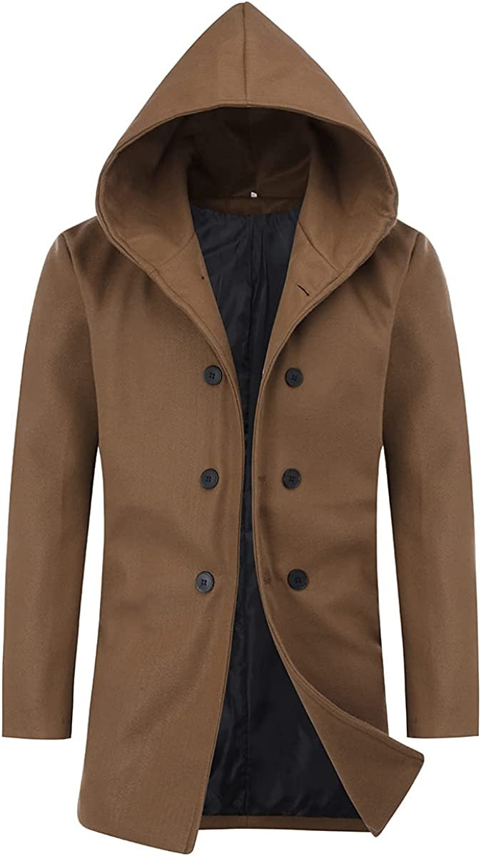 Men's Winter Double Breasted Mid-Long Coa Max 45% OFF Ranking TOP7 Cotton Coat Trench Pea