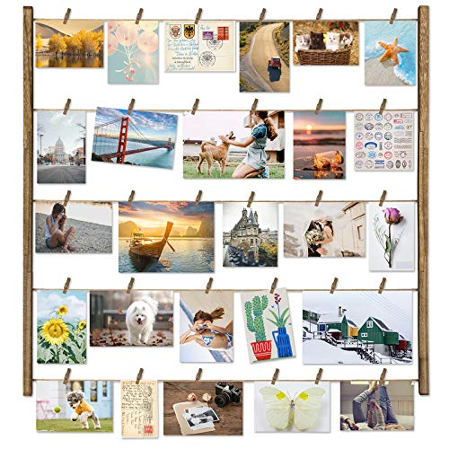 Love-KANKEI Wood Picture Photo Frame for Wall Decor 26×29 inch with 30 Clips and Adjustable Twines Collage Artworks Prints Multi Pictures Organizer and Hanging Display Frames Carbonized Black