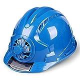 Aslion Solar Fan Working Helmet Adjustable Ventilation Sunscreen Waterproof Architecture Worker Cap (Blue)