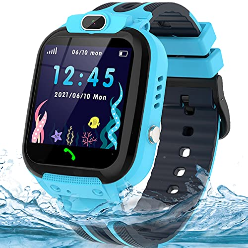 Kids Smart Watch for Boys Girls, IP67 Waterproof GPS Tracker Smart Watch for Kids with Call SOS Voice Chat Camera Function, HD Touch Screen Cell Phone Watch for Kids Age 3-14 (Blue)