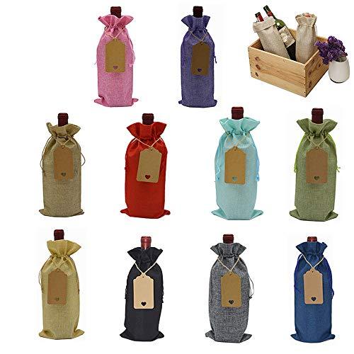 10 Piezas Bolsas Vino de Yute, Bolsas de Vino con Cordón, Bolsas Vino a Prueba de Polvo Lavables Reutilizables Coloridas con Cordón Para Navidad, Favores de Fiesta, Fiesta de Cata Vinos (10 Colores)