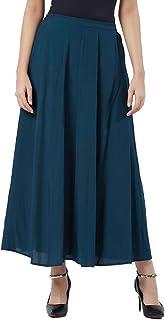 Fusion Beats Women Viscose Emerald Green Solid Skirt