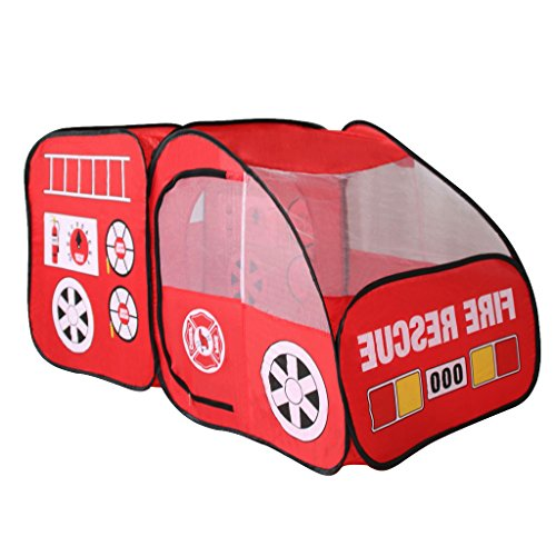 MagiDeal Kids Childrens Playhouse Indoor Outdoor Pop Up Fire Truck Car Play Tent Toy