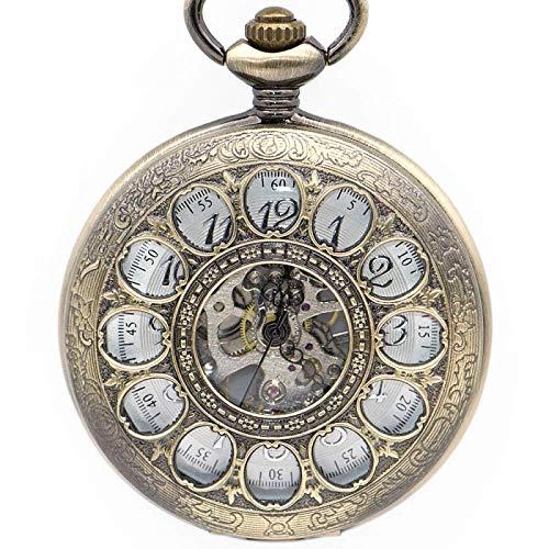 LYMUP Reloj de Bolsillo, Flor de Sol única, diseño Hueco, Reloj, Reloj, Retro, Reloj, Reloj, Reloj, Reloj, Reloj, Reloj de Viento,Vapor (Color : Bronze)