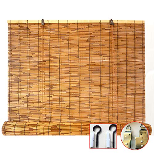 KDDEON Carbonization Natural Reed Curtain,Kitchen Bamboo Roller Blinds,Lifting Blind Sun Shade,Hand-Woven/Retro/Waterproof Engineering Curtain,Customizable,with Accessories (70x180cm/28x71in)