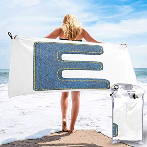 OKME Custom Toallas,Denim Blue Jeans con Temática Símbolo E del Alfabeto ABC De Tela Letra Mayúscula Impreso Impreso Mujeres Toallas De Baño para Correr Camping Deportivo,80x160cm