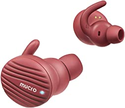 True Wireless Headphones Bluetooth, MUCRO Comfort Noise Cancelling Sport Running Earbuds with Charging Case, Touch Control Bluetooth 5.0 TWS Earphones Red(Built-in Mic, Stereo Calls)