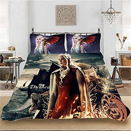 LXSMGS Juego de funda nórdica Daenerys de Juego de Tronos, microfibra, suave y cómodo, sin relleno (Thrones3,135 x 200 cm + 80 x 80 cm x 2)