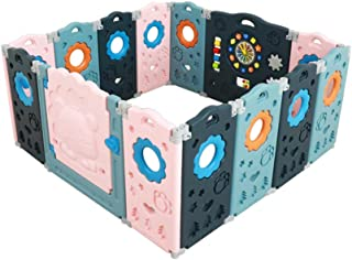 SINCHER Foldable Baby Playpen Safety Play Yard for Toddler Foldable Baby Playpen - Play Gate for Toddler Play Yard, Lion P...