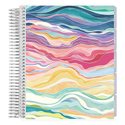 Erin Condren 12 - Month 2021 Coiled Life Planner (January - December 2021) - Layers Colorful Cover, Hourly Layout, Layers Neutral Interior Design, Daily Agenda
