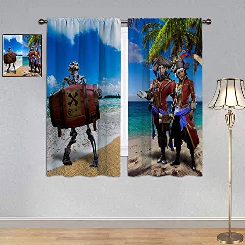 ARYAGO Maßgeschneiderte Gardinen Sea of Thieves Gardinen, Videospiel, Pirat, Strand, Totenkopf, Fenstervorhang, Stoff für Jungen, Schlafzimmer, 132 x 160 cm