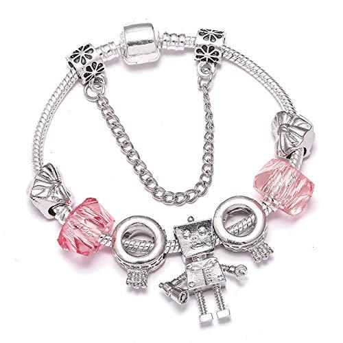 Moda simple plata europea plateado encanto pulseras con pequeñas cuentas Bella para las mujeres boda joyería regalo 16cm
