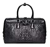 Unisex Genuine Crocodile Bone Leather Large Travel Duffel Bags (One_Size, Black)