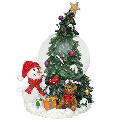 Dekohelden24 Wunderschöne Schneekugel, Tannenbaum mit Schneemann, Ø 6,5 cm