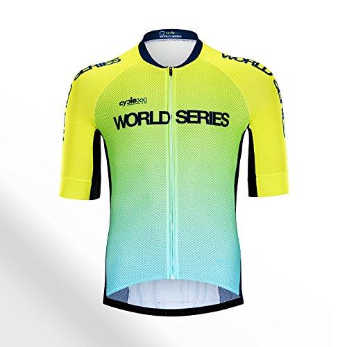 Cycle360 Maillot Ciclista competición World Series 2018 Mod. SERENDIPIA flúor. Tope de Gama Profesional, Talla L