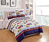 Luxury Home Collection 7 Piece Kids Full Comforter Set Construction Vehicles Trucks Cement Blue Red White Green Yellow (Full Comforter)