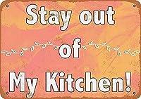 ステイアウトマイキッチン 金属板ブリキ看板警告サイン注意サイン表示パネル情報サイン金属安全サイン