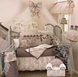 Cotton Tale Designs 100% Cotton Pink, Charcoal Gray/Grey Floral with Bows, Chocolate Brown Polka Dot, Champagne Tulle Nightingale 4 Piece Nursery Crib Bedding Set - Baby Shower Gift Girl