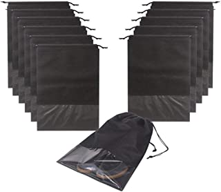 12PCS Travel Shoe Bags Waterproof Non Woven Storage with Rope for Men and Women Shoes Pouch Packing Organizers, X Large, Black|Storage Bags|