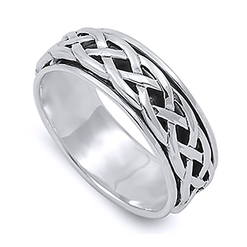 Double Accent Sterling Silver Wedding & Engagement Ring Celtic Design Spinner Wedding Band 8mm (Size 4 to 14) Size 8